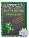 Stem & Leaf Notes & Practice with Gummy Bears; Fun Activity
