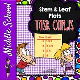 Stem & Leaf Plots w/Mean, Median, Mode, Range - Task Cards