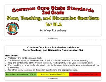 Stem, Teaching, and Discussion Questions for 2nd Grade ELA