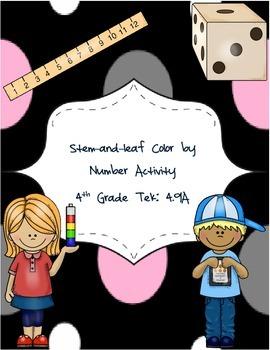Stem-and-Leaf Color by Number Activity - STAAR Tek 4.9A