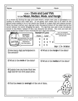Stem and Leaf Plot 2 - Student Printable with Mean, Median, Mode, and Range