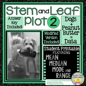 Stem and Leaf Plot 2 - Student Printable with Mean, Median