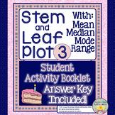 Stem and Leaf Plot 3 with Mean, Median, Mode, and Range -