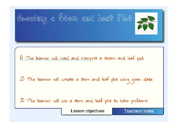 Stem and Leaf Plot - A SMART Lesson