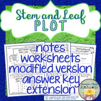 Stem And Leaf Plot Worksheet Teaching Resources Teachers Pay Teachers