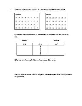 Stem and Leaf Plot Worksheet
