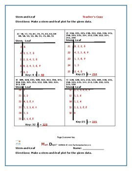 Stem and Leaf Plots (Three Worksheets)