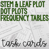 Stem and Leaf Plots, Frequency Tables, Dot Plot, Task Cards