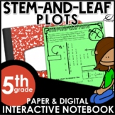 Stem-and-Leaf Plots Interactive Notebook Set | FREE | Dist