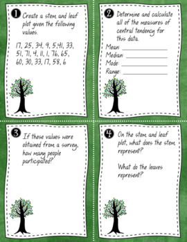 Stem and Leaf Plots: Notes, Practice Problem and Task Cards