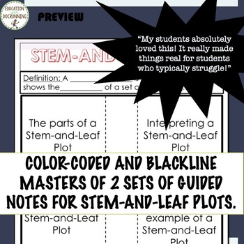 Stem and Leaf Plots Interactive Notebook Color Coded Notes and Practice