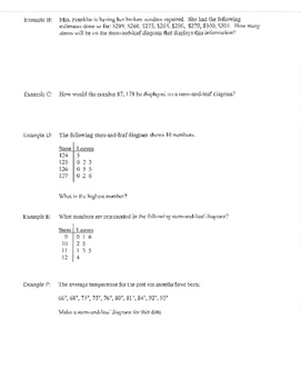 Stem and Leaf guided notes and examples practice