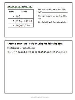 Stem-and-Leaf Plot Practice Worksheet