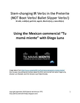 Stem-changing Verbs in the Preterite (Diego Luna Commercial)