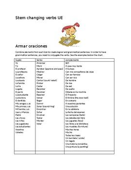 Stem changing verbs UE: Creating sentences