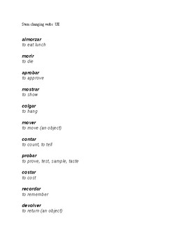 Stem changing verbs UE: list and crossword puzzle