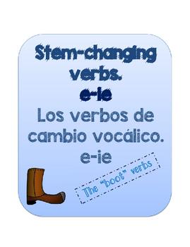 Stem-changing verbs e-ie. BUNDLE PACKET. REALIDADES 2 1A. VERBOS BOTA.
