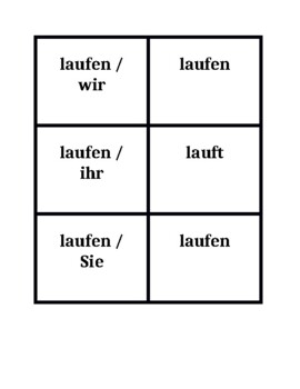 German Stem-changing verbs Concentration games
