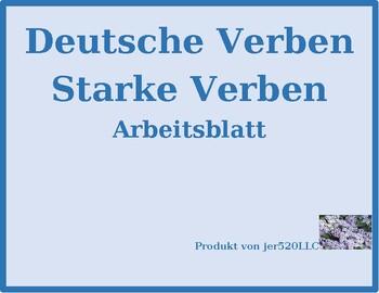 Stem changing verbs in German chart worksheet