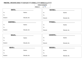 Stem changing verbs in the Preterite Tense (Spanish Flip Flops)