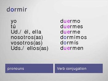 Stem changing verbs o to ue