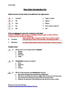 Stems Intro List & Quiz: Building Vocabulary with Prefixes, Suffixes, & Roots