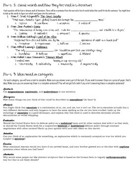 Stems List 21 Worksheet-- comprehension, analysis, and practical use