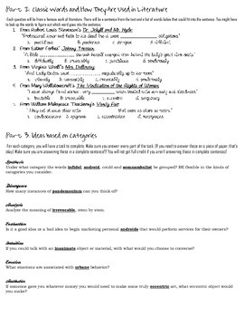 Stems List 24 Worksheet-- comprehension, analysis, and practical use