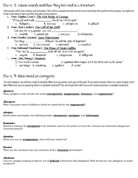 Stems List 25 Worksheet-- comprehension, analysis, and practical use
