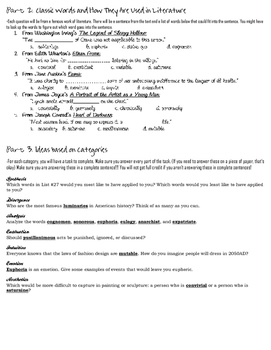 Stems List 27 Worksheet-- comprehension, analysis, and practical use