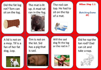 Step 1.1 Decodable Sentences MATCH game or PART 5 of Lesson (sentence reading)