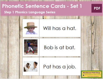 Step 1: Phonetic Sentence Cards (Set 1)