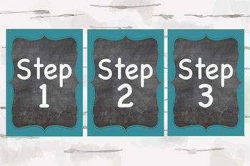 Step 1, Step 2, and Step 3 Chalkboard and Aqua classroom decor