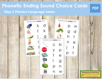 Step 2: Phonetic Ending Sound Choice Cards