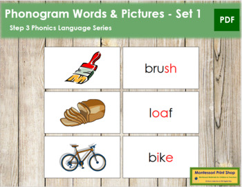 Step 3: Phonogram Words and Picture Cards (Set 1)
