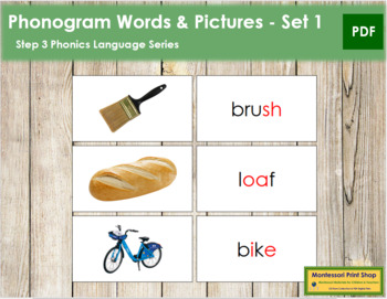 Step 3: Phonogram Words and Picture Cards (Set 1) - Real Pictures