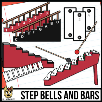 Step Bells, Bars, Staircases, and Mallets Clip Art for Music Class