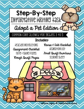 Step-By-Step Informative Writing Tasks {Adopt a Pet Edition}