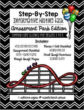 Step-By-Step Informative Writing Tasks {Amusement Park Edition}