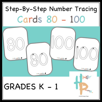 Step-By-Step Number Tracing Cards 80-100