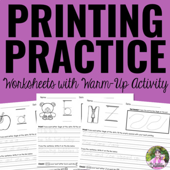 Printing Practice Worksheets with Warm Up Activity