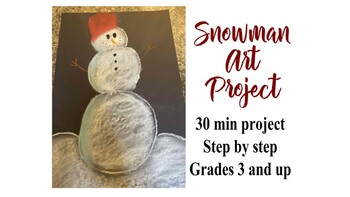 Step By step Black paper chalk snowman art project lesson simple holiday