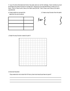 Step Function Word Problems