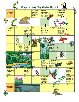 Step Into The Rain Forest - Board Game & Story Writing Sheet