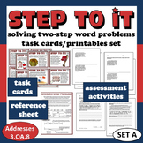 Step To It! solving two-step word problems task cards & printables (set a)