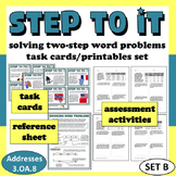 Step To It! solving two-step word problems task cards & printables (set b)