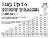 Step Up To First Grade - Math Addition Fact Families Sums to 10