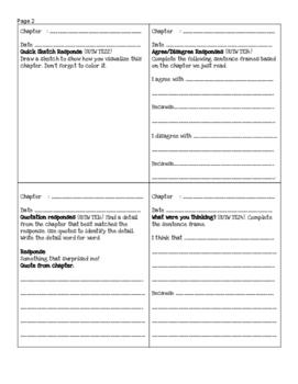 Step-Up-To-Writing Novel Response Journal