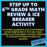Step Up to 6th Grade Math Review and Icebreaker Activity