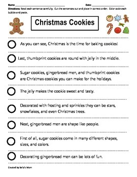 Paragraph Cut & Paste: Christmas Cookies